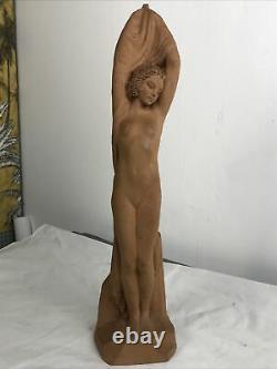 Statue Sylvestre Clerc Sculpture Art Deco Woman Naked Terracotta Signed 43.5 CM