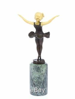 Statuette Of Young Ballerina After Ferdinand Preiss Art Deco Style -bronze
