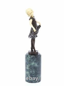 Statuette Of Young Ballerina After Ferdinand Preiss Style Art Deco Bronze