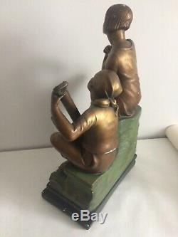 Statuette Patinated Bronze Plaster Ugo Cipriani Art Deco Signature Serenades