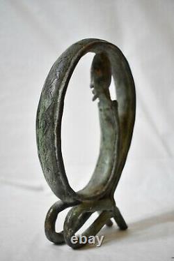 Statuette Sculpture Man Snake Bronze African Art Dogon Mali