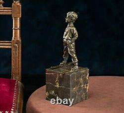 Statuette Young Boy On Skis After Ferdinand Preiss Style Art Deco Bronze