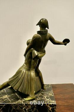 Superb And Great Harlequin Sculpture And Colombine In Bronze Period Art Deco