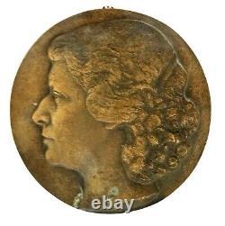 Superb And Large Round Bronze Low Relief Art Deco. Eugène Girault