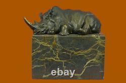 Superb And Realist Bronze Rhinoceros Sculpture Art Deco Figurine Marble Base