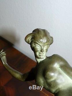 Superb Old Woman Art Deco Unusual Sculpture In Bronze Signed J Gauvenet