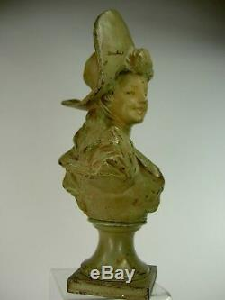 Superb Statue Art Nouveau Sculpture Bust Girl 1900 Van Der Straeten Deco