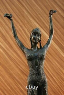 True Bronze Art Deco Woman Dancer Statue Erotic Chair Sculpture Star