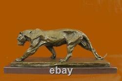 True Bronze Metal Statue On Marble Base Female Lion Sculpture Art Deco