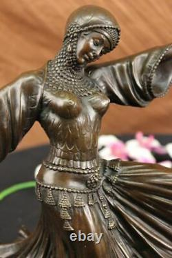 Vegas Dancer Show Girls Art Deco Bronze Sculpture Marble Figure Decor