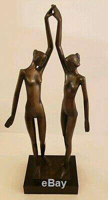 Vintage Bronze Chair Figurative Modernist MID Century Signed Art Statue