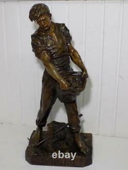 Vintage Grand Art Nouveau Sculpture In Bronze Artist Emile Picault Le Minerai