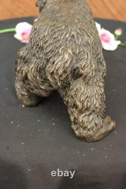 West Black Art Bear Mother Grand Bronze Decor Statue Sculpture Figure Balance