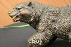 Western Art Bear Black Mother Large Bronze Marble Statue Sculpture Figurine