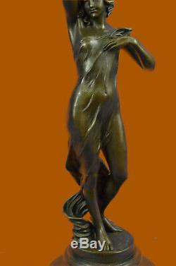 Western Bronze Marble Art Deco Statue Sexy Erotic Naked Woman