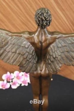 Winged Man Nude Icarus Rising Sun Art Bronze Sculpture Statue Figurine Figurine T