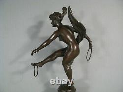 Woman Dancer Nude Aux Anneaux Sculpture Art Nouveau Bronze Old Signed Faure