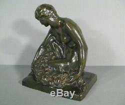 Woman Naked Old Sculpture Bronze Casting Art Deco Signed Marcel Bouraine