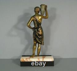 Women Water Carrier Bronze Sculpture Ancient Art Deco Style Dancer