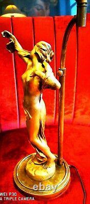 Women's Sculpture Art Nouveau Jules-aimé Grosjean (1872-1906) Mounted In Lamp