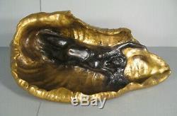 Young Naked Woman Naiad Sculpture Bronze Age Art Nouveau Signed E. Baudet