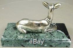 11920/1930 G. Lavroff Statue Sculpture Animaliere Art Deco Bronze Argente Biche