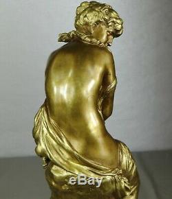 1860/1900 Math. Moreau Statue Sculpture Ep. Art Nouveau Bronze Dore Frileuse Nue