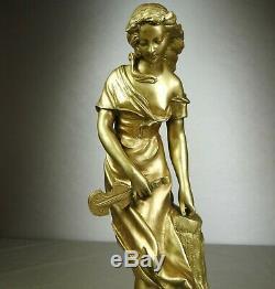 1880/1900 E. Ferrari Rare Statue Sculpture Bronze Dore Art Nouveau Femme Guitare