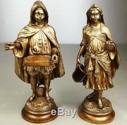 1880/1900 E Guillemin Deux Statue Sculpture Orientaliste Art Nouveau Bronze Dore