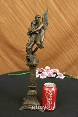 19 Grand Chair Mâle Ange Portant Fille Mythique Deco Bronze Sculpture Art
