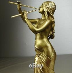 1900/1920 Ed Drouot Statue Sculpture Art Nouveau Deco Bronze Dore Muse Femme Nue