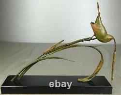 1920/1930 Av. Becquerel Rare Statue Sculpture Animaliere Art Deco Bronze Oiseau