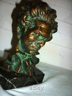 1920/1930 Buste de Beethoven en bronze Pierre LE FAGUAYS SCULPTURE ART DECO