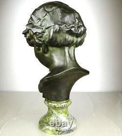1920/1930 L. Alliot Grand Buste Statue Sculpture Art Deco Bronze Enfant Bacchus