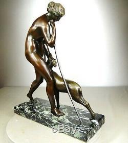 1920/1930 M. Guiraud-riviere Statue Sculpture Art Deco Bronze Diane Chasseressee