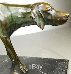 1920/1930 Max Le Verrier Rare Statue Sculpture Art Deco Bronze Animalier Chien