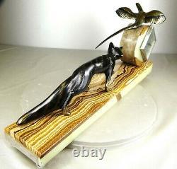 1920 M. Decoux Pendule Statue Sculpture Art Deco Cubisme Bronze Animalier Renard