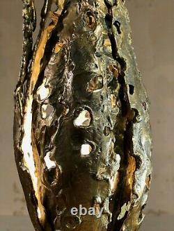 1970 LAMPE SCULPTURE FLAMME ART-DECO MODERNISTE BRUTALIST SHABBY-CHIC Arlus