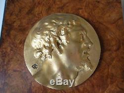 2 Bas Relief Art Nouveau Bronze Dore Signe Portrait Homme Femme French Medal