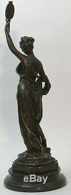 58 cm Ouest Art Déco Bronze Jeune Femme Fille Belle Maiden Danseuse Sculpture