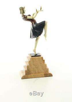 9973615-dss Bronze Sculpture Art Déco Tänzeri de Couleur 37x9x17cm