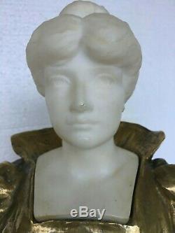 ANCIENNE SCULPTURE BRONZE DORÉ ET MARBRE FIN XIXème EPOQUE 1900 ART NOUVEAU