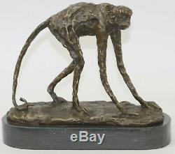 Abstrait Moderne Art Artwork Ape Singe Animal Bronze Sculpture Marbre Base Décor