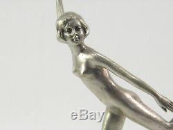 Ancien Art Déco Argenté Bronze Figurine Sculpture de un Chair Femme Danseuse