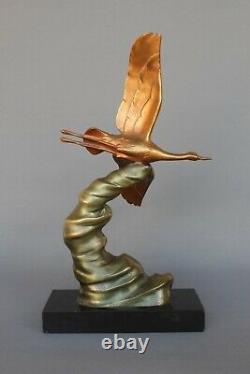 Ancien Bronze Animalier Signé Grue en Vol -Alexandre OULINE Art déco sculpture