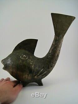 Ancienne Grande Sculpture Bronze Poisson Art Premier Ethnique Afrique milieu XXe