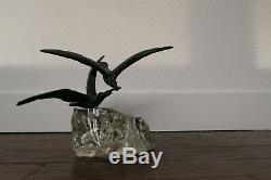 Ancienne Sculpture Art Deco Bronze Verre Oiseaux Signe Chatil