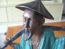 Ancienne Sculpture Statue En Bronze Art Asiatique Japonais Decoration Collection