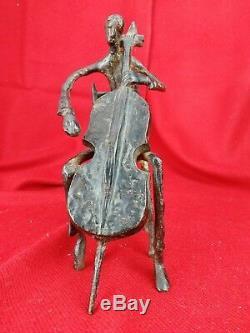 Ancienne sculpture en bronze, musicien et sa contrebasse Art contemporain 22,5cm