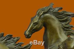 Arabe Pur-Sang Chevaux au Galop Racing Bronze Marbre Statue Sculpture Art